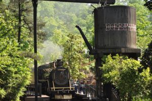 A steam engine at the Dollywood theme park in Pigeon Forge.